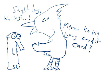 An absurd cartoon, with badly drawn animals portraying a credit card agent and his victim